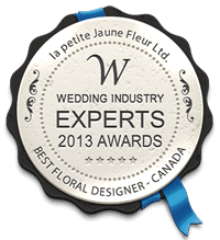 Wedding Industry Experts 2013 Awards Best Floral Designer Canada