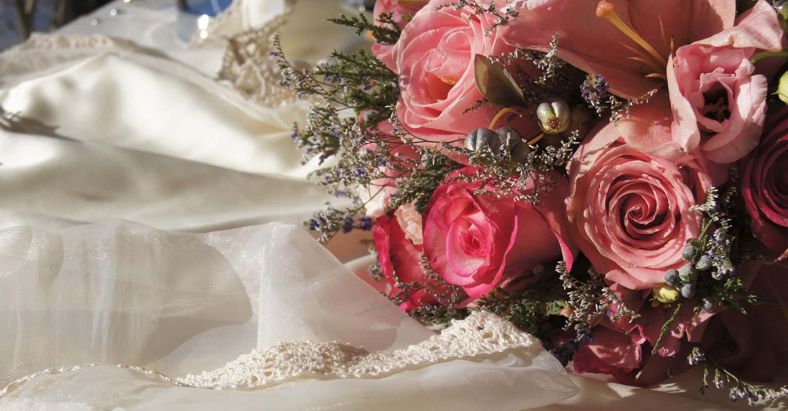 Wedding Bouquets Pink Flowers White Satin Dress