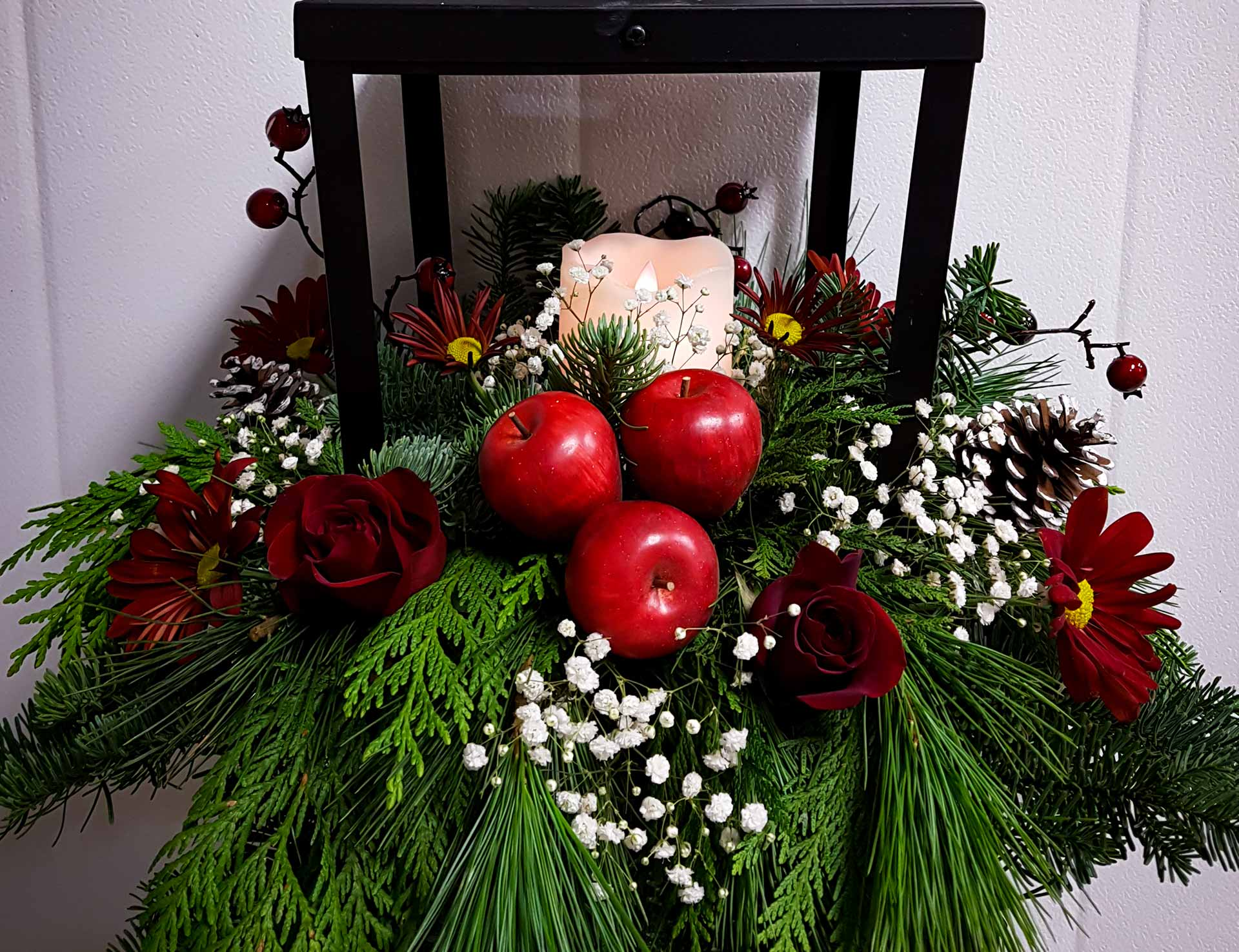 Red Deer Christmas Flowers Candle Apple Red Lantern